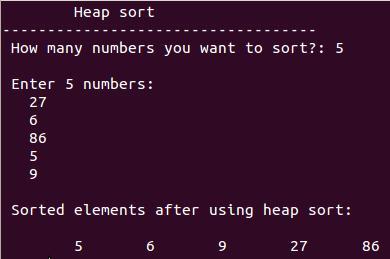 write a program of heap sort
