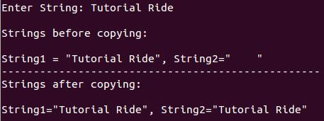 Copy one string into another string - C Program