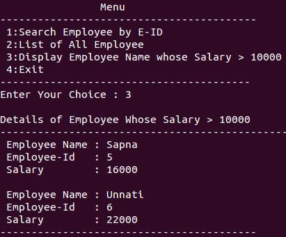 Menu driven C Program for an employee structure