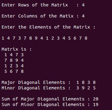 Display major & minor diagonal elements