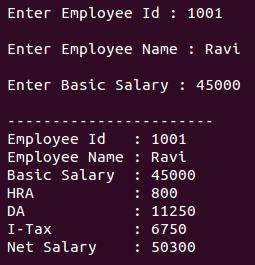 Create & display payslip - C++ Program